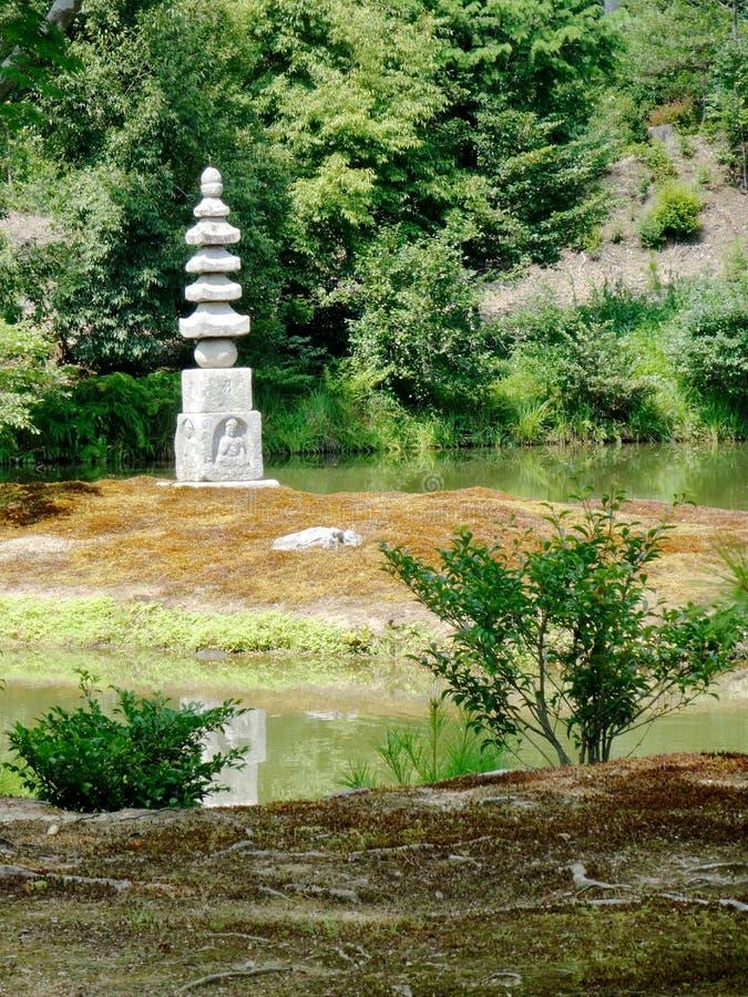Weergeven van de Witte Slanghoop of de Witte Slangpagode hakuja-geen-Tsuka bij tempel Kinkaku -kinkaku-ji stock foto