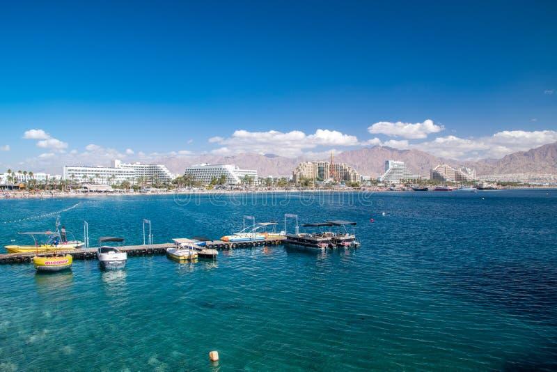 Weergeven van Eilat Eilat is een beroemde toeristentoevlucht en een recreatieve stad in Israël royalty-vrije stock afbeeldingen