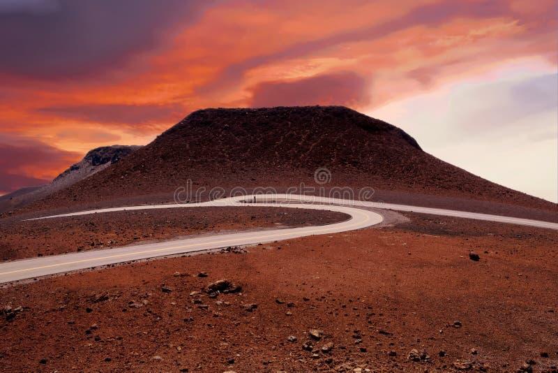 Weergeven van Haleakala-Vulkaan in Maui bij zonsopgang stock afbeeldingen