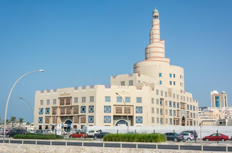 Weergeven van het Culturele Centrum Fanar van Abdulla Bin Zaid Al Mahmoud Islamic in Doha, Qatar royalty-vrije stock fotografie