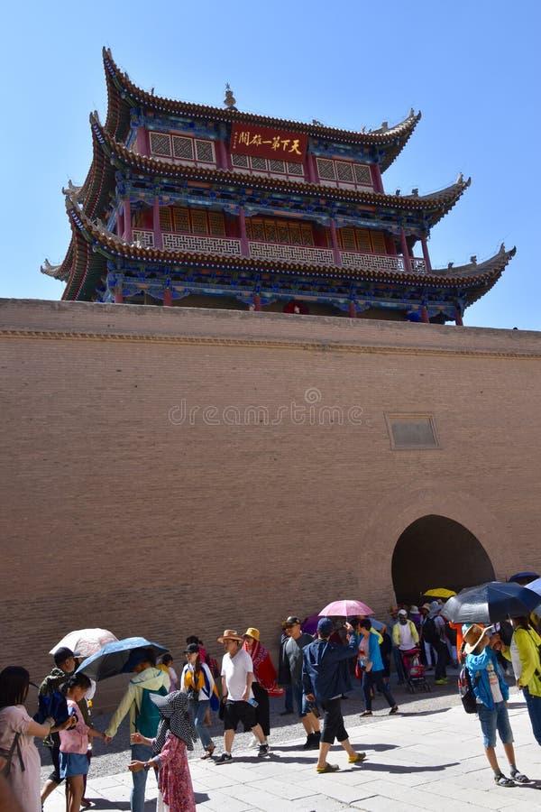 Weergeven van het Jiayuguan-Fort, China stock afbeeldingen