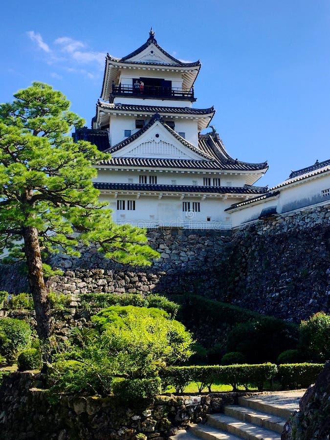 Weergeven van het Kochi-kasteel op Shinkoku-Eiland, Japan royalty-vrije stock foto