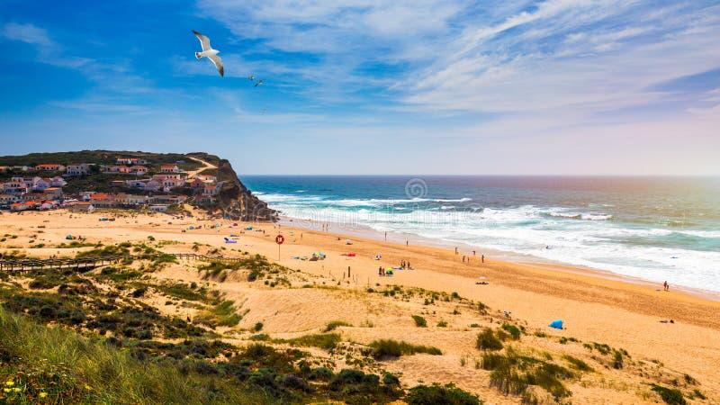Weergeven van het Monte Clerigo-strand met vliegende zeemeeuwen op de westelijke kustlijn van Portugal, Algarve Treden aan strand stock afbeelding