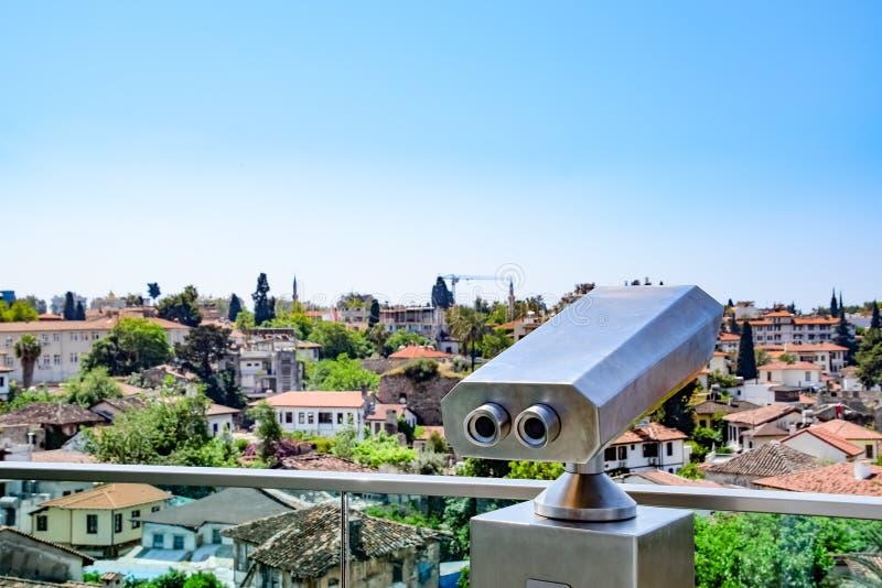 Weergeven van het observatiedek op de daken van de oude gebouwen van de oude stad van Kaleici in Antalya, Turkije stock afbeelding