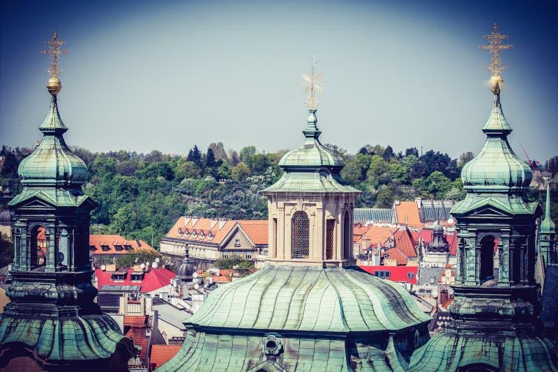 Weergeven van het panorama van Praag - Tsjechische Republiek royalty-vrije stock afbeeldingen