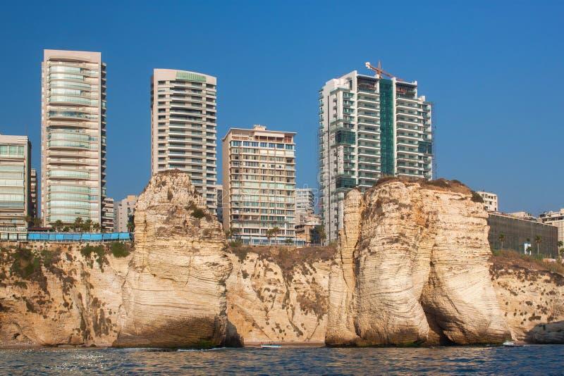Weergeven van het Raouche-district in Beiroet, Libanon royalty-vrije stock foto's