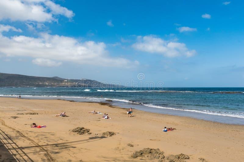 Weergeven van het strand Playa Las Canteras, Las Palmas de Gran Canaria, Spanje stock afbeeldingen