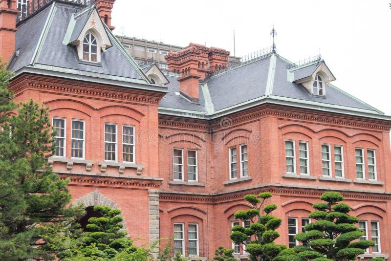Weergeven van het Vroegere Regeringskantoor van Hokkaido in Sapporo-Stad, Hokkaido, Japan in seizoengebonden de zomer royalty-vrije stock afbeelding