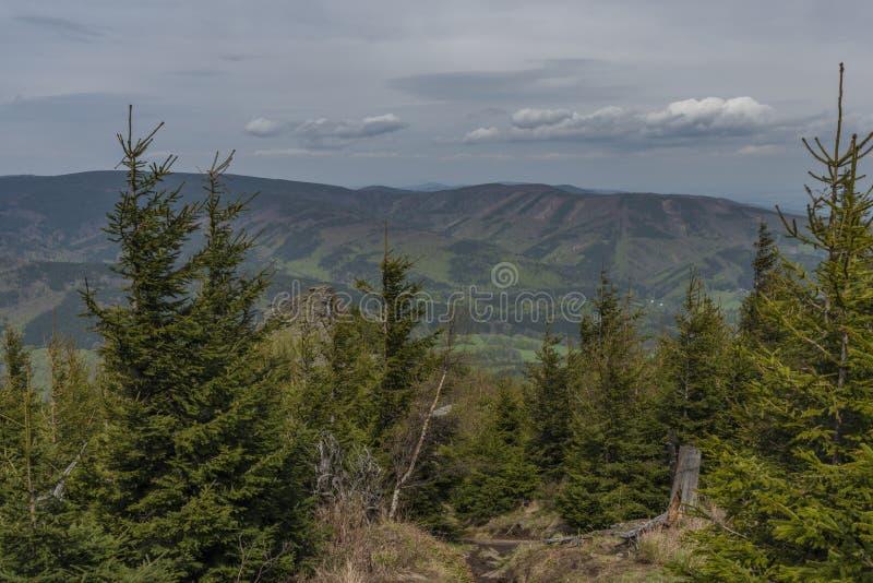 Weergeven van heuvel dichtbij Reuzerotsen in Jeseniky-bergen in de lentedag stock afbeelding