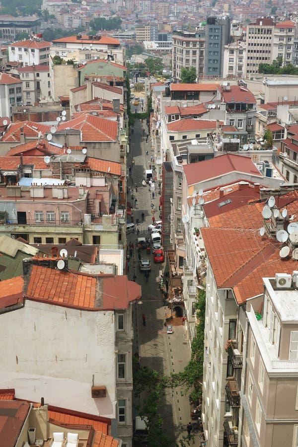 Weergeven van Istanboel van het observatiedek van de Galata-toren stock foto's