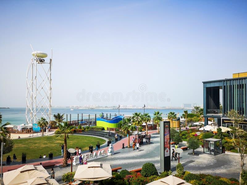 Weergeven van JBR, Jumeirah Beach Residence-oriëntatiepunt in Doubai, Verenigde Arabische Emiraten royalty-vrije stock afbeeldingen