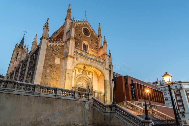 Weergeven van Jeronimos-kerk en Prado-Museum in Madrid royalty-vrije stock afbeeldingen