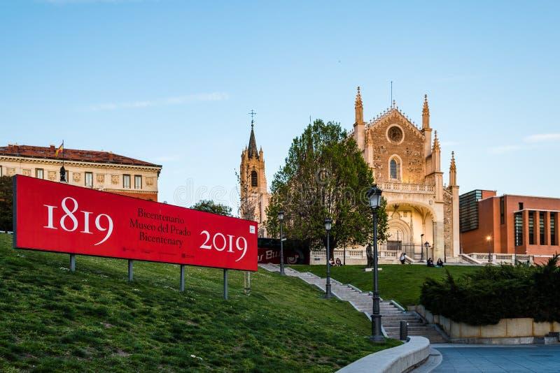 Weergeven van Jeronimos-kerk en Prado-Museum in Madrid royalty-vrije stock afbeelding