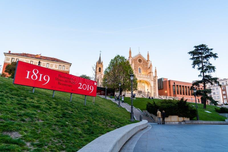 Weergeven van Jeronimos-kerk en Prado-Museum in Madrid royalty-vrije stock fotografie