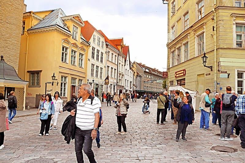 Weergeven van Kullassepa-straat in oude stad van Tallinn, Estland royalty-vrije stock afbeelding