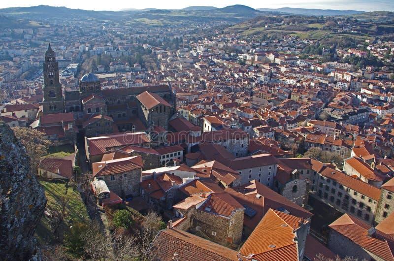 Weergeven van Le Puy Engelse Velay in Frankrijk stock foto