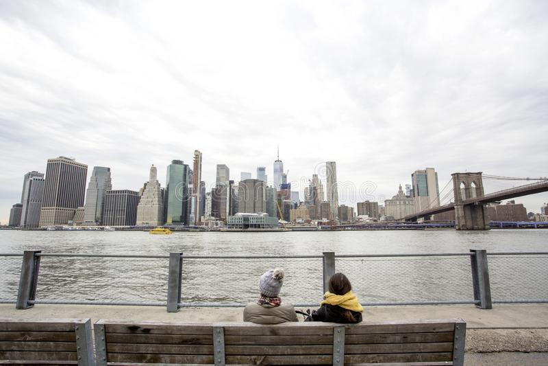 Weergeven van Manhattan over de Rivier van het Oosten stock afbeelding