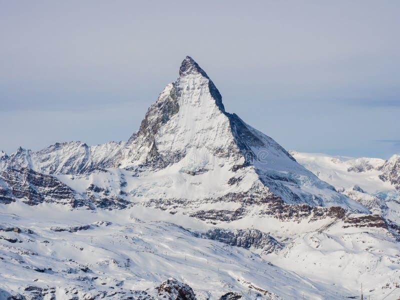 Weergeven van Matterhorn van Gornergrat-toppost Zwitserse Alpen, Valais, Zwitserland stock fotografie