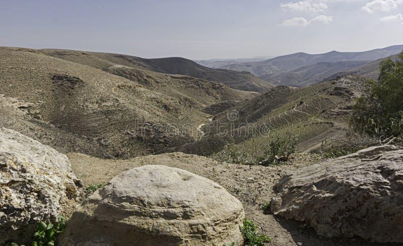 Weergeven van Nahal Wadi Tavia dichtbij Arad in Negev in Israël stock afbeelding