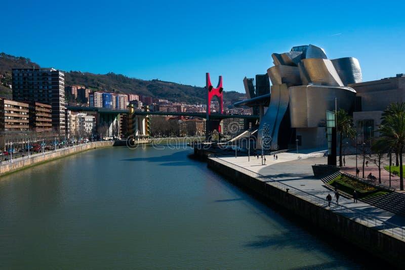 Weergeven van Nervion-Rivier en de Stad van Bilbao royalty-vrije stock foto