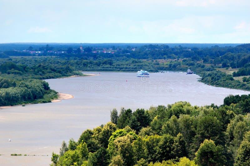 Weergeven van Oka-rivier dichtbij Kasimov, Ryazan oblast, Rusland royalty-vrije stock fotografie