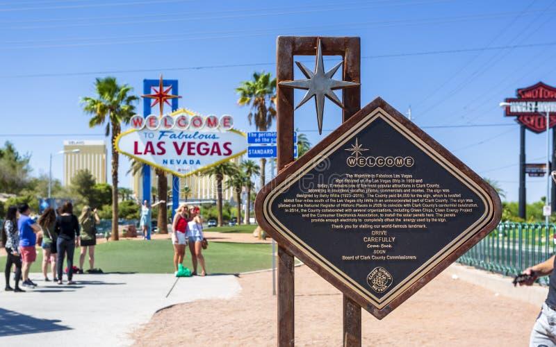 Weergeven van Onthaal aan het Fabelachtige teken van Las Vegas op de Strook, de Boulevard van Las Vegas, Las Vegas, Nevada, de V. royalty-vrije stock fotografie