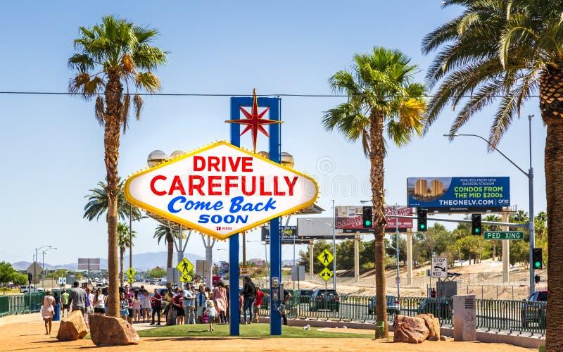 Weergeven van Onthaal aan het Fabelachtige teken van Las Vegas op de Strook, de Boulevard van Las Vegas, Las Vegas, Nevada, de V. stock afbeelding