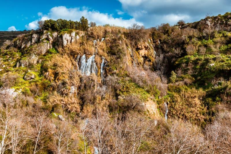 Weergeven van Paradision-watervallen dichtbij Trozena-dorp Limassol district, Cyprus stock foto