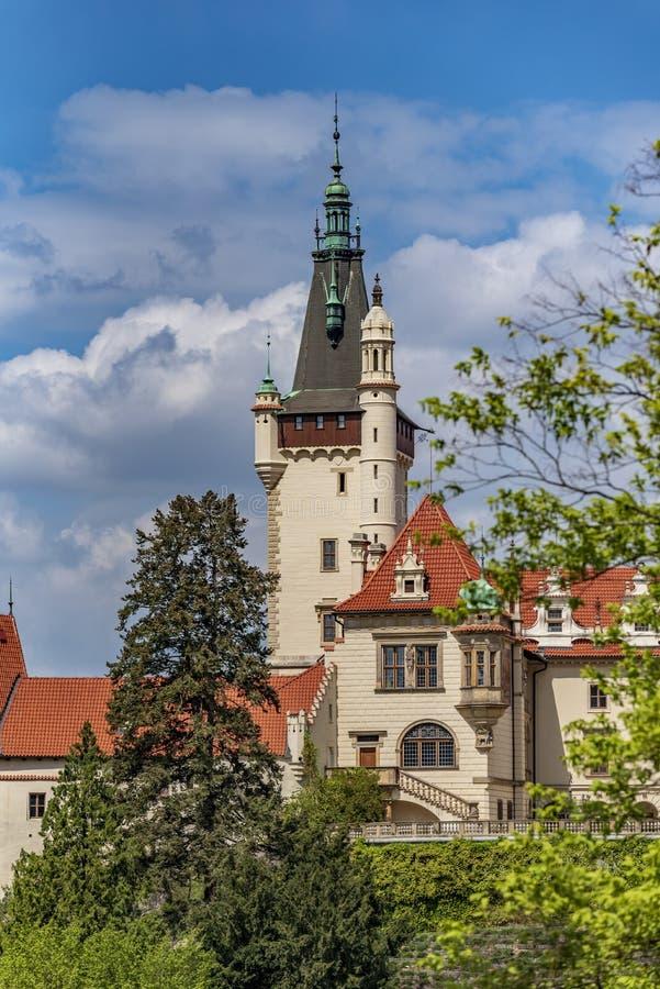 Weergeven van Pruhonice-Kasteel Tsjechische Republiek royalty-vrije stock foto's
