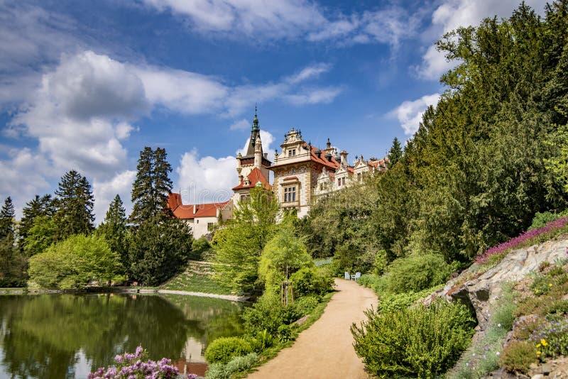 Weergeven van Pruhonice-Kasteel Tsjechische Republiek royalty-vrije stock fotografie