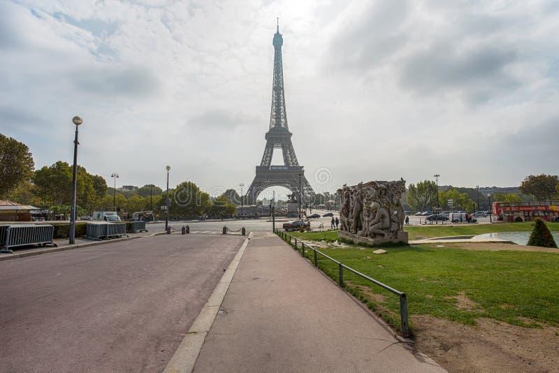 Weergeven van Reis Eiffel van Trocadero in Parijs, Frankrijk stock fotografie