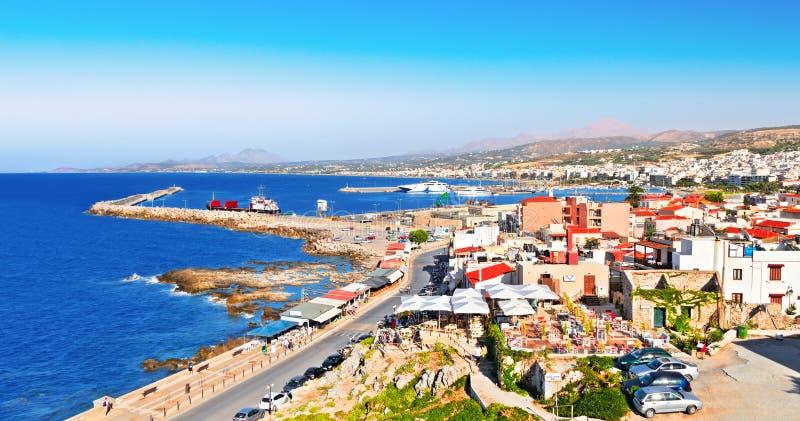 Weergeven van Rethymno Eiland Kreta Griekenland stock afbeeldingen