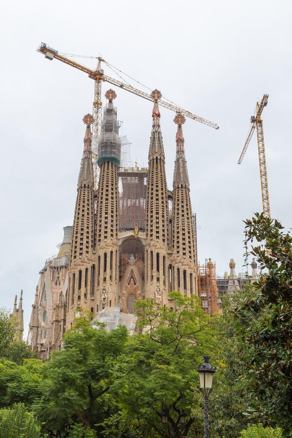 Weergeven van Sagrada Familia, Barcelona, Spanje stock afbeeldingen