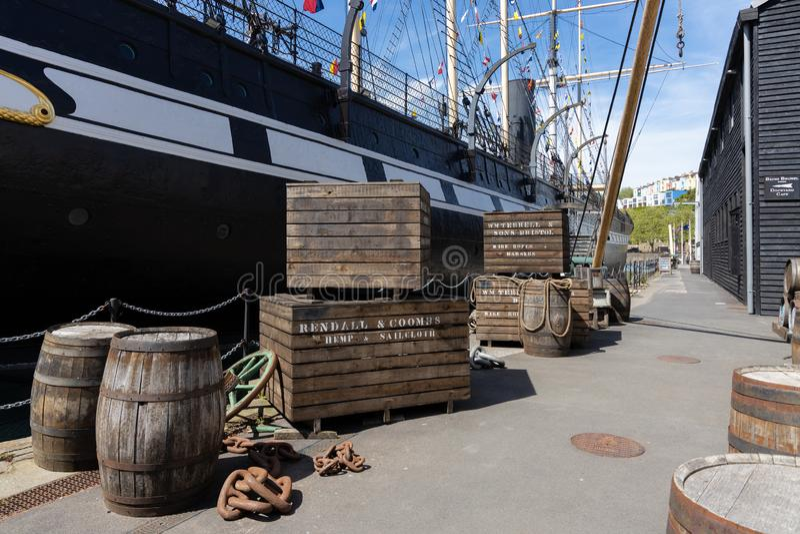 Weergeven van SS Groot-Brittanni? in droogdok in Bristol op 14 Mei, 2019 royalty-vrije stock afbeeldingen