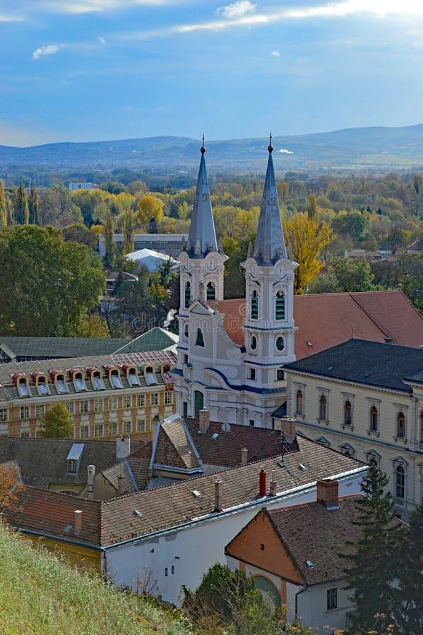 Weergeven van St Ignatius Church van de Esztergom-Basiliek, Esztergom, Hongarije stock foto's