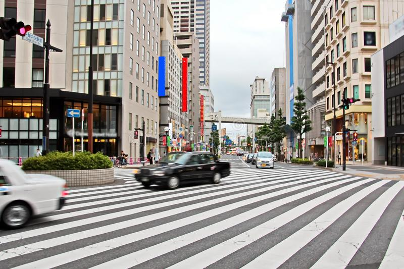 Weergeven van straten en vierkanten in de loop van de dag en nacht, de stad van Chiba, Japan royalty-vrije stock afbeeldingen