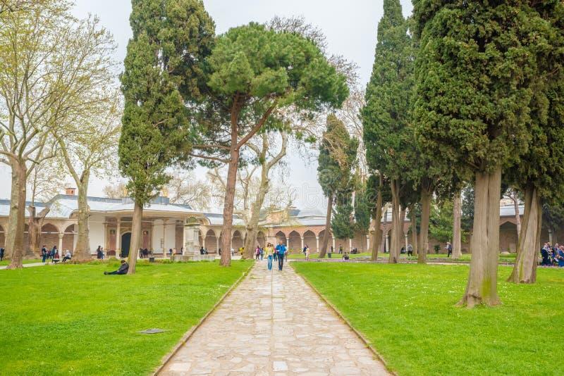 Weergeven van Topkapi-Paleis in Istanboel, Turkije stock afbeelding