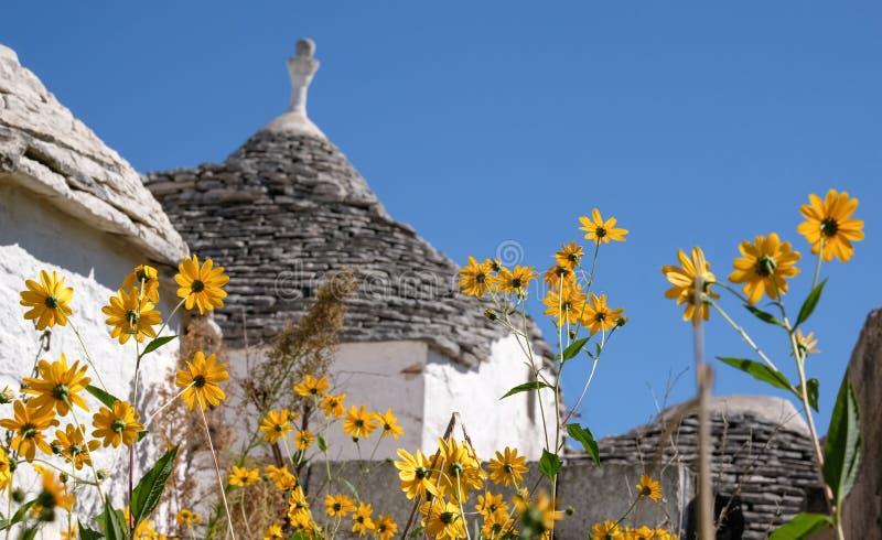 Weergeven van traditionele trullihuizen in de Aia Piccola woonwijk van Alberobello in de Itria-Vallei, Puglia Italië royalty-vrije stock foto