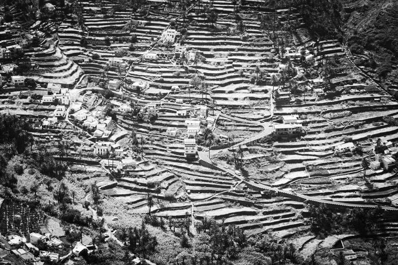 Weergeven van Valle Gran Rey in zwart-wit royalty-vrije stock foto