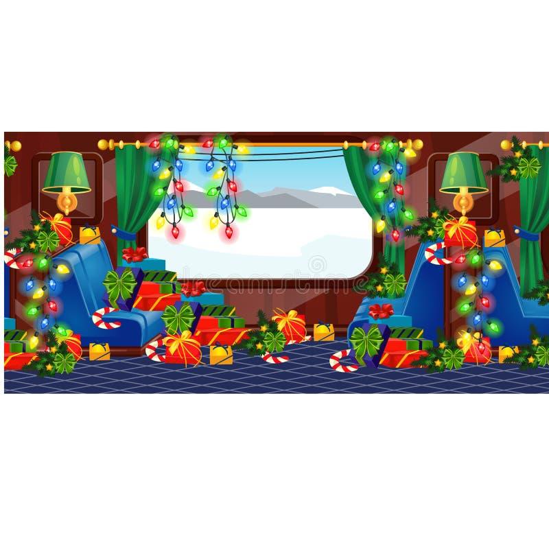 Weergeven van venster van een trein in Kerstmisstijl die wordt verfraaid Giftdozen met lintboog Vakantiereis en reis Steekproef v stock illustratie