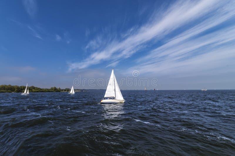 Weergeven van witte varende schepen die op een donkerblauw Nederlands ijsmeer varen, met een achtergrond van een duidelijke blauw stock fotografie