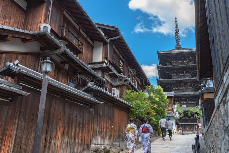 Weergeven van yasaka-Dorigebied met Hokanji-de Pagode van tempelyasaka stock afbeelding