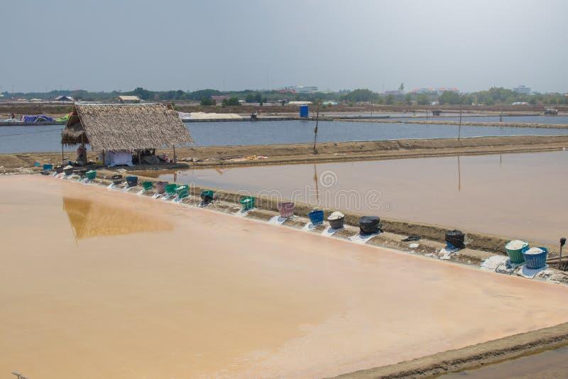 Weergeven van zout verdampingsvijver of meer bij platteland van Thailand stock foto