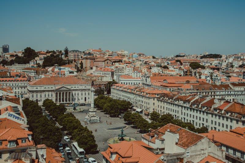 Weergeven vanaf de bovenkant van Lissabon, Portugal royalty-vrije stock foto