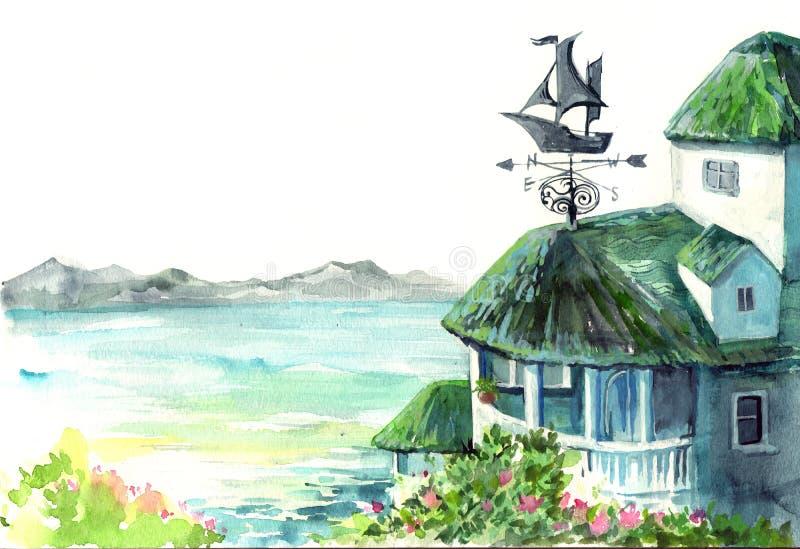 Weerhaan op dak vector illustratie