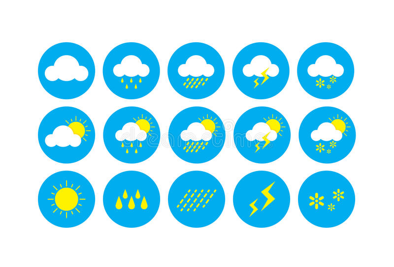 Weerpictogram, Pictogrammen die weer verwante symbolen vertegenwoordigen vector illustratie