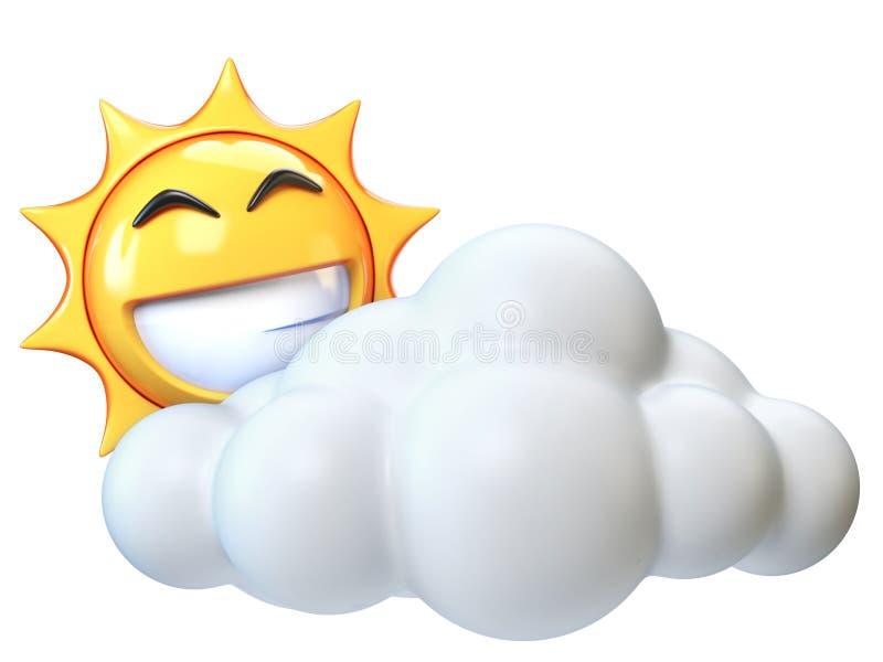 Weerpictogram Zonnig met wolken, zonemoji met beeldverhaalwolk vector illustratie