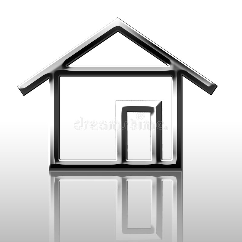 Weerspiegeld zilveren huis royalty-vrije illustratie