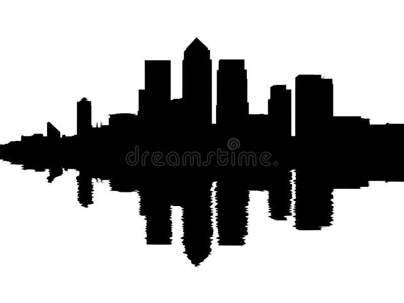 Weerspiegelde de horizon van Londen Docklands royalty-vrije illustratie