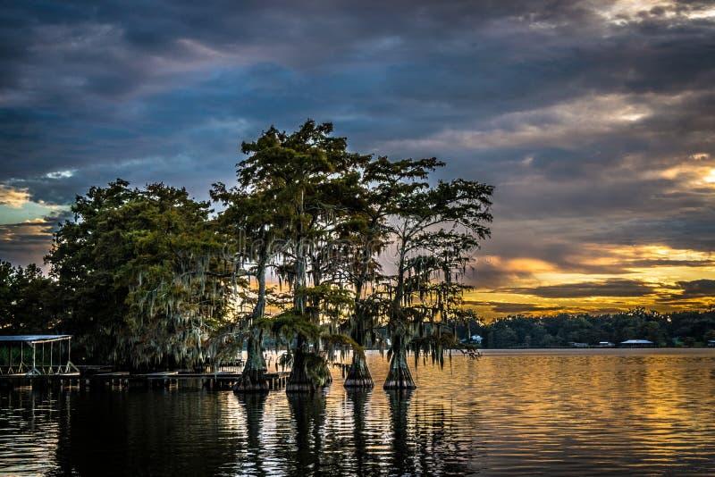 Weerspiegelde hemel en bomen bij zonsondergang over Meer Bruin royalty-vrije stock afbeelding